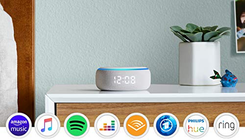 Echo Dot (3.Gen.) – smarter Lautsprecher mit Uhr und Alexa, Sandstein Stoff