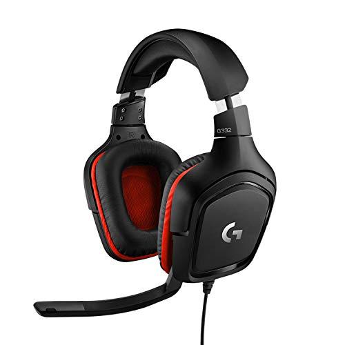 Logitech G332 kabelgebundenes Gaming-Headset, 50mm Treiber, Rotierende Kunstleder-Ohrmuscheln, 3.5mm Klinke, 6mm Mikrofon mit Flip-Stummschalter, PC/Mac/Xbox One/PS4/Nintendo Switch - Schwarz/Rot