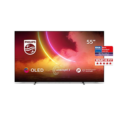 Philips Ambilight TV 55OLED805/12 55-Zoll OLED TV (4K UHD, P5 AI Perfect Picture Engine, Dolby Vision, Dolby Atmos, HDR 10+, Sprachassistent, Android TV) Mattgrau/Dunkel Chrom (2020/2021 Modell)
