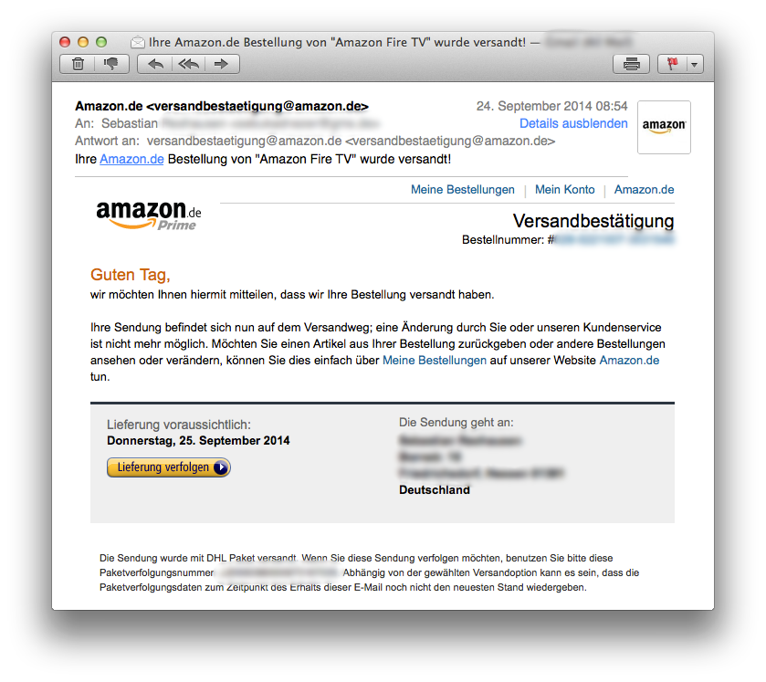 Versantbestätigung des Amazon Fire TV inkl. konkretem Liefertermin am 25.9.2014