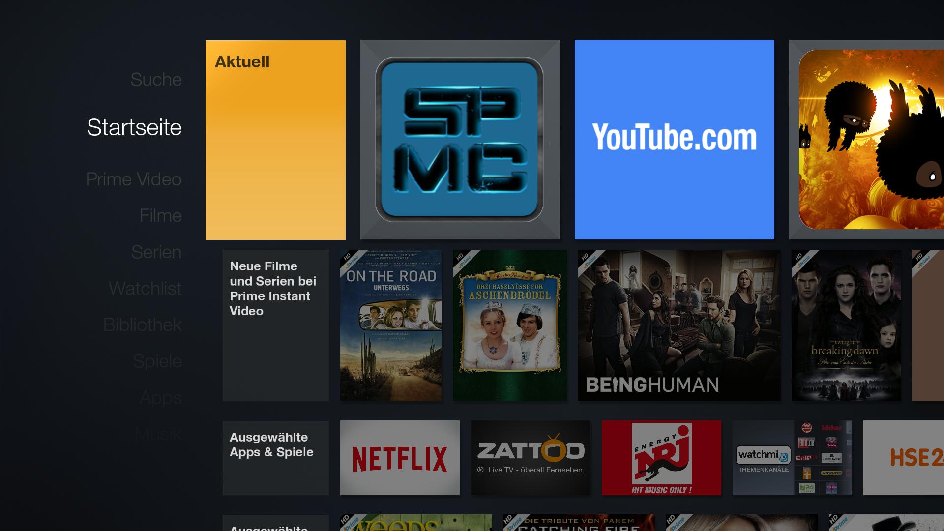 tipp spmc als offizielle app vom startbildschirm aus starten. Black Bedroom Furniture Sets. Home Design Ideas
