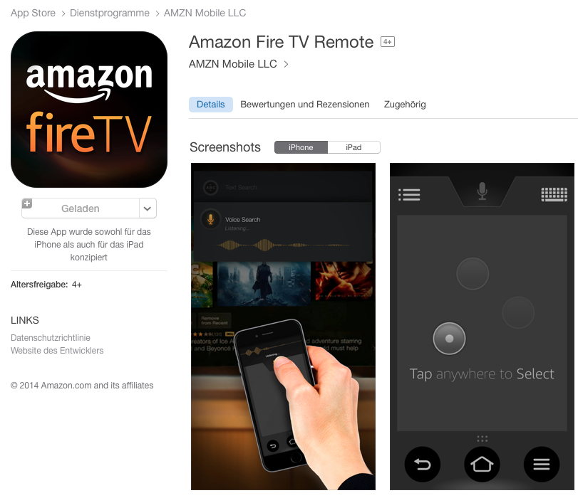 fire tv fernbedienung im deutschen ios appstore erschienen. Black Bedroom Furniture Sets. Home Design Ideas