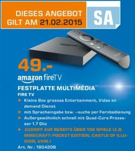 Ausschnitt aus dem Saturn-Prospekt: Fire TV für 49€