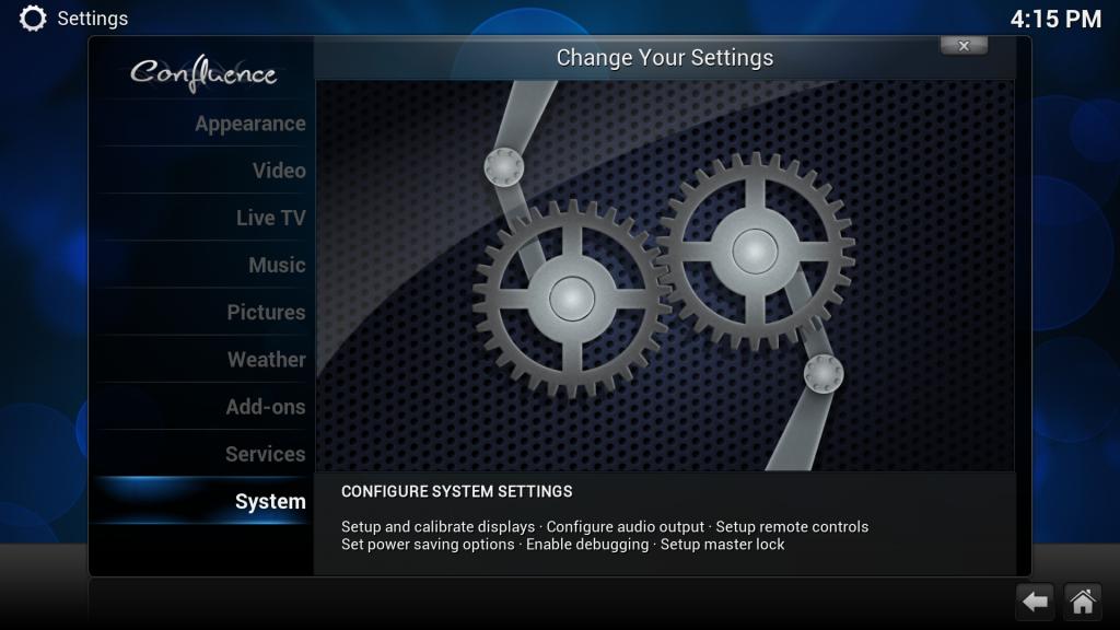 In den XBMC-Einstellungen ganz nach unten auf System gehen