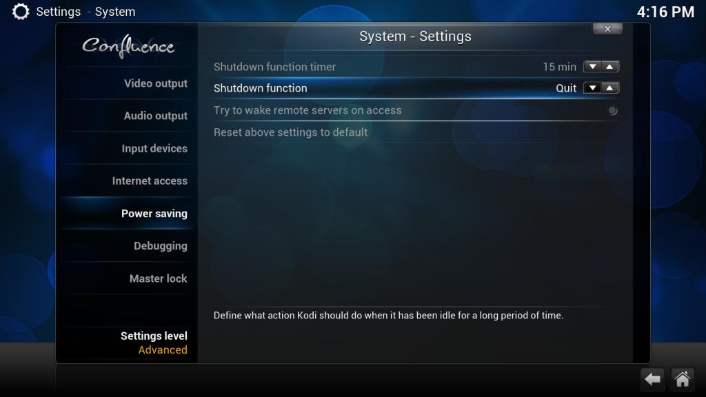 Power Saving Einstellungen in XBMC/Kodi anpassen