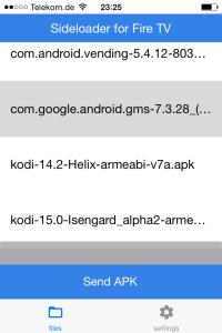 Android-App Auflistung ider Sideloader-App für iOS