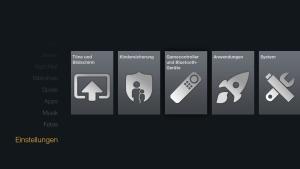 Sideload-App starten, indem Du im Hauptmenü auf Einstellungen gehst