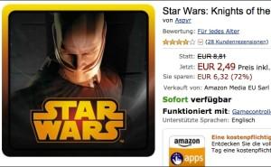 Star Wars - Knigts of the Old Republic für das Fire TV stark reduziert