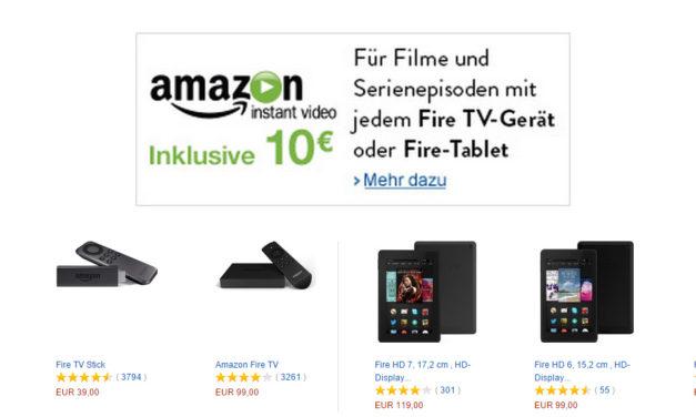 Aktuell gibt es das amazon Fire tv oder den amazon Fire TV Stick inkl. 10€ Guthaben