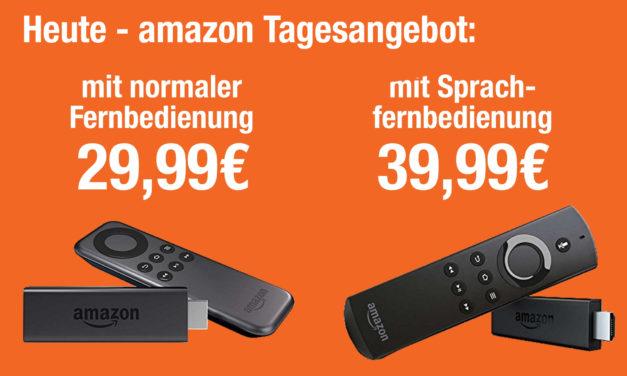 Tagesangebot: Amazon Fire TV Stick für 29,99€ – mit Sprachfernbedienung 39,99€