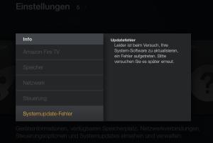 Firmware-Updates auf Fire TV und Fire TV Stick blockieren - erfolgreiche Fehlermeldung