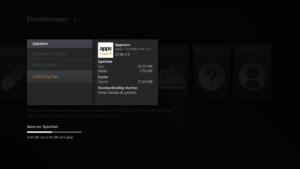 Amazon Appstore Cache löschen, damit Kodi wieder auf der Startseite des Amazon Fire TVs zu finden ist