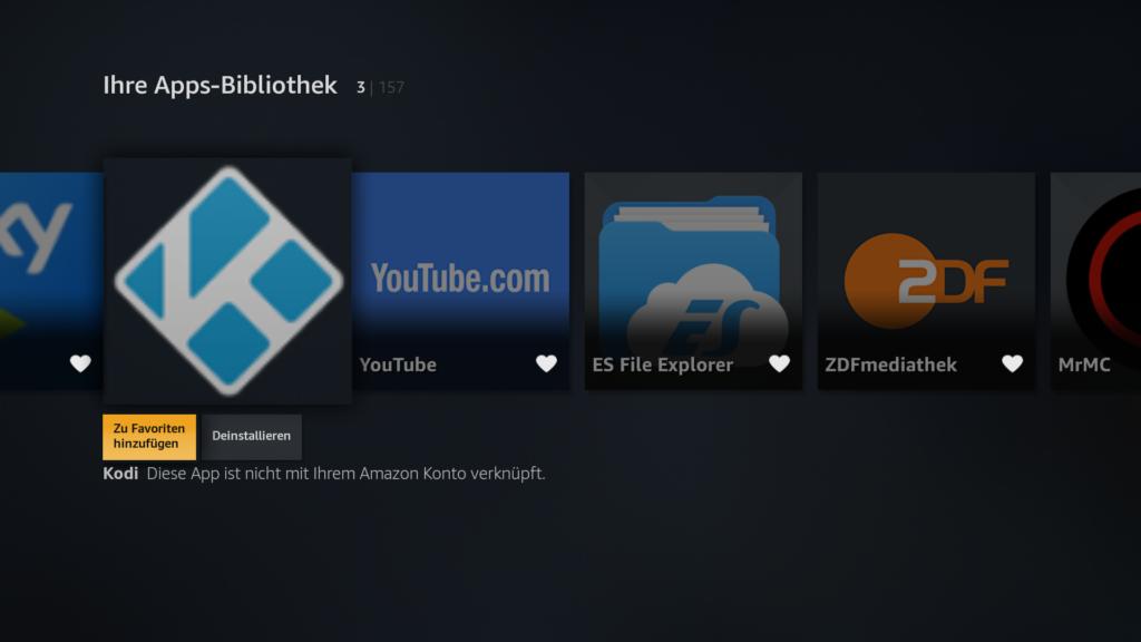 Kodi in den Fire TV Ihre Apps Bibliothek als Favorit hinzufügen, damit er wieder auf der Fire TV Startseite zu finden ist