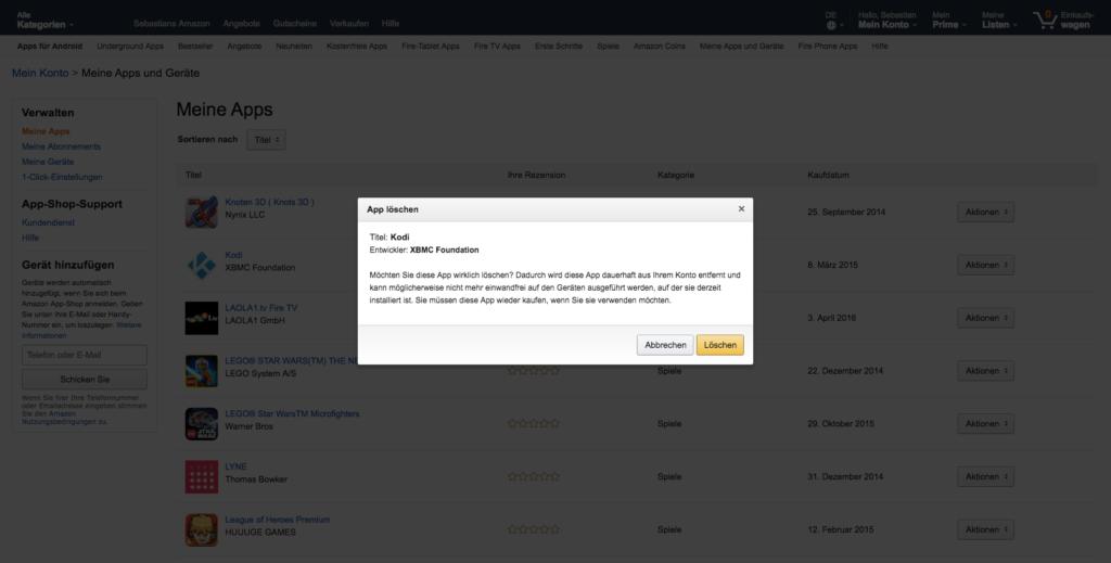Kodi von der Amazon Fire TV Startseite ausführen und aus Euren Amazon Bestellungen löschen