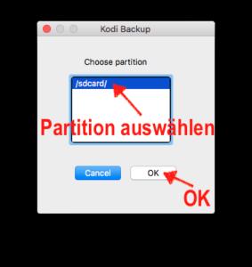 Partition der Kodi-Installation auf Eurem Fire TV auswählen