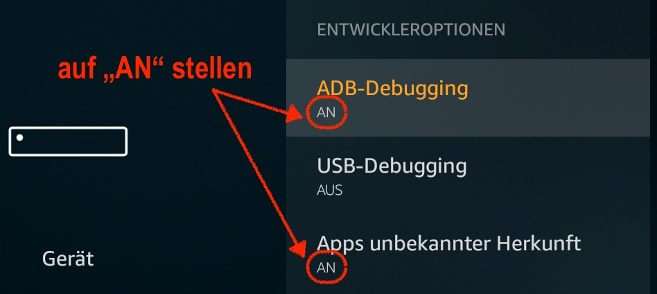 ADB-Debugging und Apps unbekannter Herkunft auf dem Fire TV und Fire TV Stick aktivieren