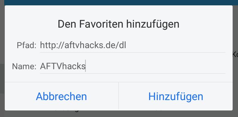 AFTVhacks als Favorit im ES File Explorer hinzufügen