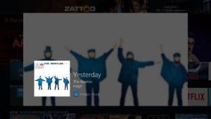 Alexa Sprachsuche auf dem Fire TV verwenden, um Songs bei Amazon Music abzuspielen - hier am Beispiel von Yesterday von den Beatles