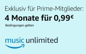 Amazon Music Unlimited 4 Monate lang für insgesamt 0,99€ nutzen