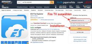 ES File Explorer kostenlos über die Amazon Webseite auf dem Fire TV installieren