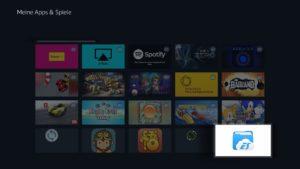 ES File Explorer über die Apps-Übersicht des Fire-TV-Quickmenüs öffnen