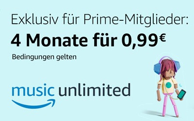 Deal: Für nur 1€ Amazon Music Unlimited 4 Monate lang testen