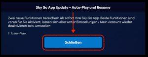 Sky Go App Update Nachricht schließen, indem man ganz lange nach unten drückt und dann bestätigt