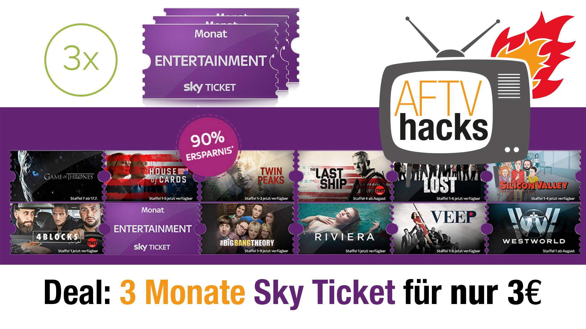 Deal: 3 Monate Sky Entertainment Ticket für nur 3€ zum Serien schauen