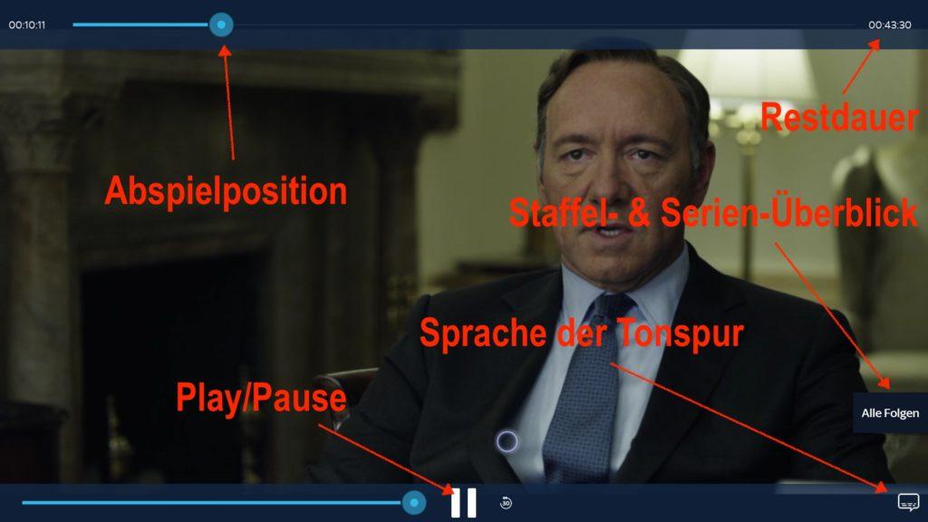 Bedienelemente der Sky Ticket Video-Player-Ansicht