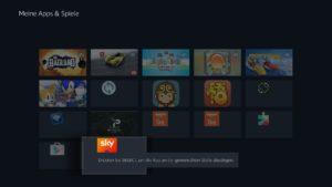 Die Sky Ticket App könnt Ihr auf der Startseite nach vorne holen, indem Ihr sie in der Quick-Menü-Apps-Liste nach oben verschiebt