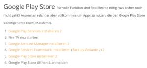 Google Play Store installieren, indem man nach und nach 4 Apps installiert