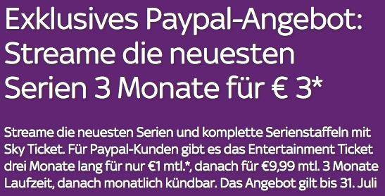 Sky Ticket Entertainment-Paket 3 Monate lang für insgesamt 3€ testen