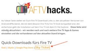 Sky Ticket für den Amazon Fire TV & Fire TV Stick herunterladen und installieren