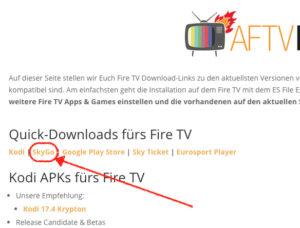 Download von SkyGo starten, indem Ihr in den Fire TV Quick-Downloads auf den SkyGo Eintrag klickt