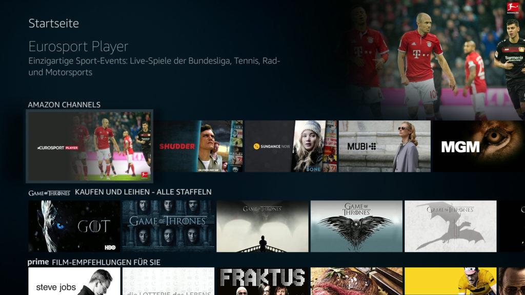 Eurosport Player lückenlos in die Fire TV Oberfläche integriert