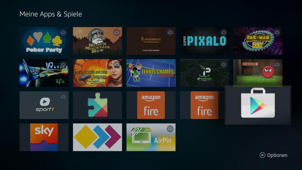 Google Play Store auf dem Fire TV öffnen - über das Fire TV Quick-Menü