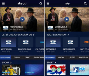 Sky Go und Sky Ticket Screenshot