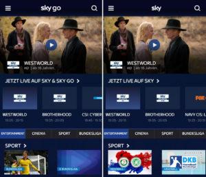 Sky Go und Sky Ticket Screenshot