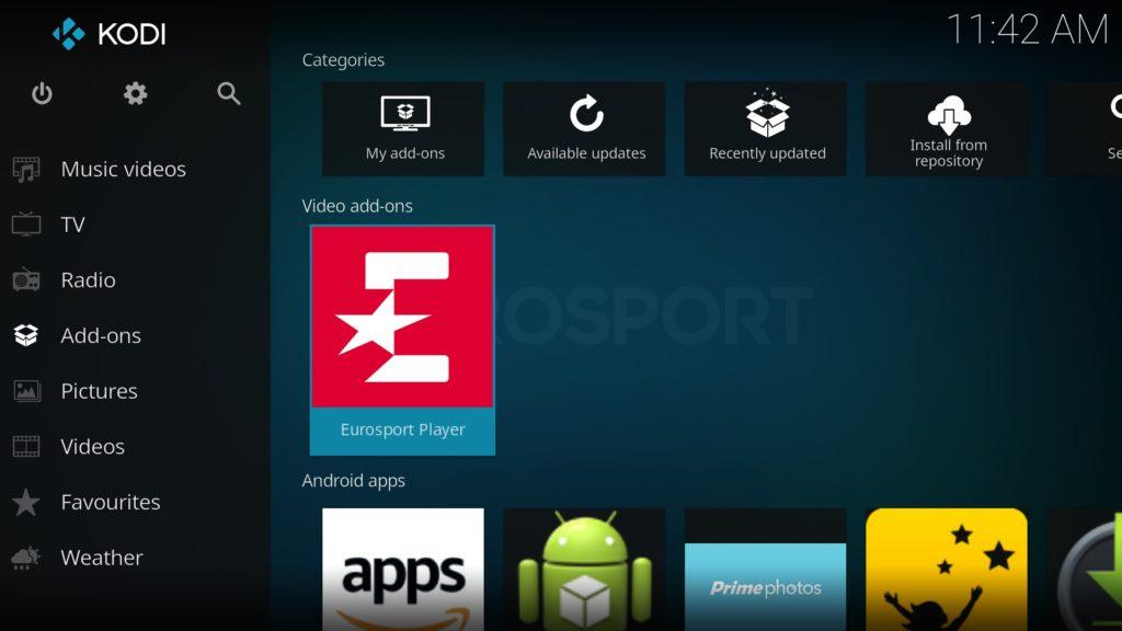 Eurosport Player Video add-on öffnen, indem Ihr im Kodi Hauptmenü auf Add-ons und dann im Bereich Video add-ons auf den entsprechenden Eintrag klickt
