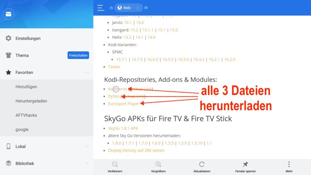 Im ES File Explorer alle 3 für die Nutzung von Eurosport Player in Kodi herunterladen