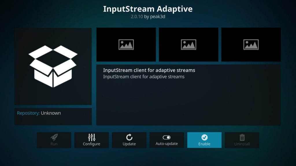 InputStream Adaptive aktivieren indem Ihr auf Enable klickt