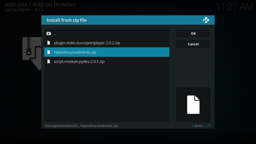 Kodinerds-Repository zip-Datei auswählen und bestätigen