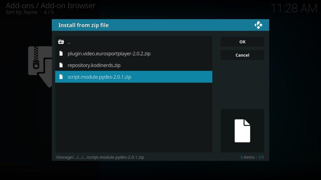 PyDes ZIP-Datei auswählen und öffnen