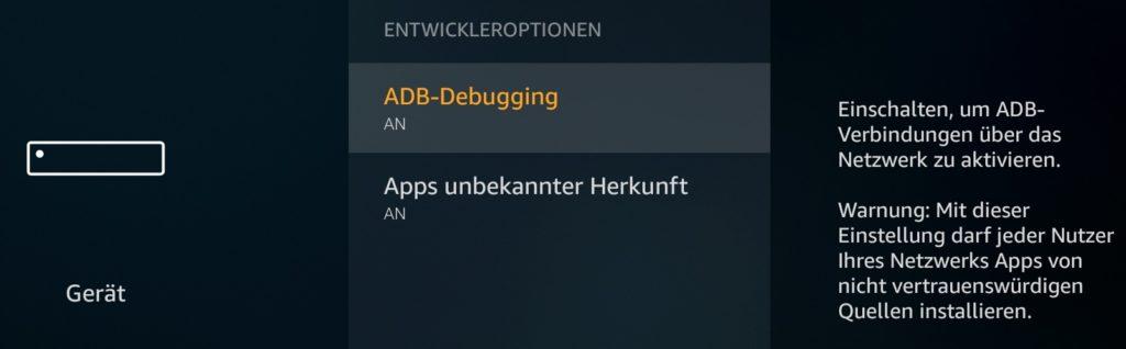 ADB-Debugging in Entwickleroptionen beim Fire TV 3 aktivieren - USB-Debugging bisher nicht möglich