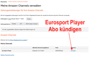 Eurosport Player Abo als Amazon Channel bei Amazon kündigen