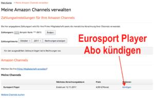 Eurosport Player Abo als Amazon Channel bei Amazon kündigen