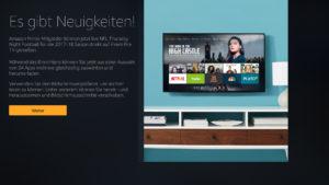 Willkommensbildschirm der neuen Fire TV Firmware 5.2.6.0
