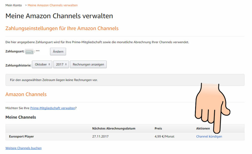 Eurosport Player amazon Channel kündigen
