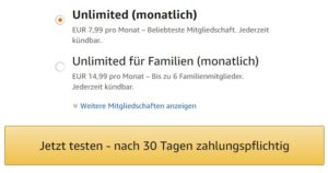 Amazon Music Unlimited Probemitgliedchaft starten