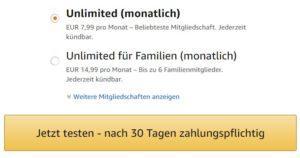 Amazon Music Unlimited Probemitgliedchaft starten